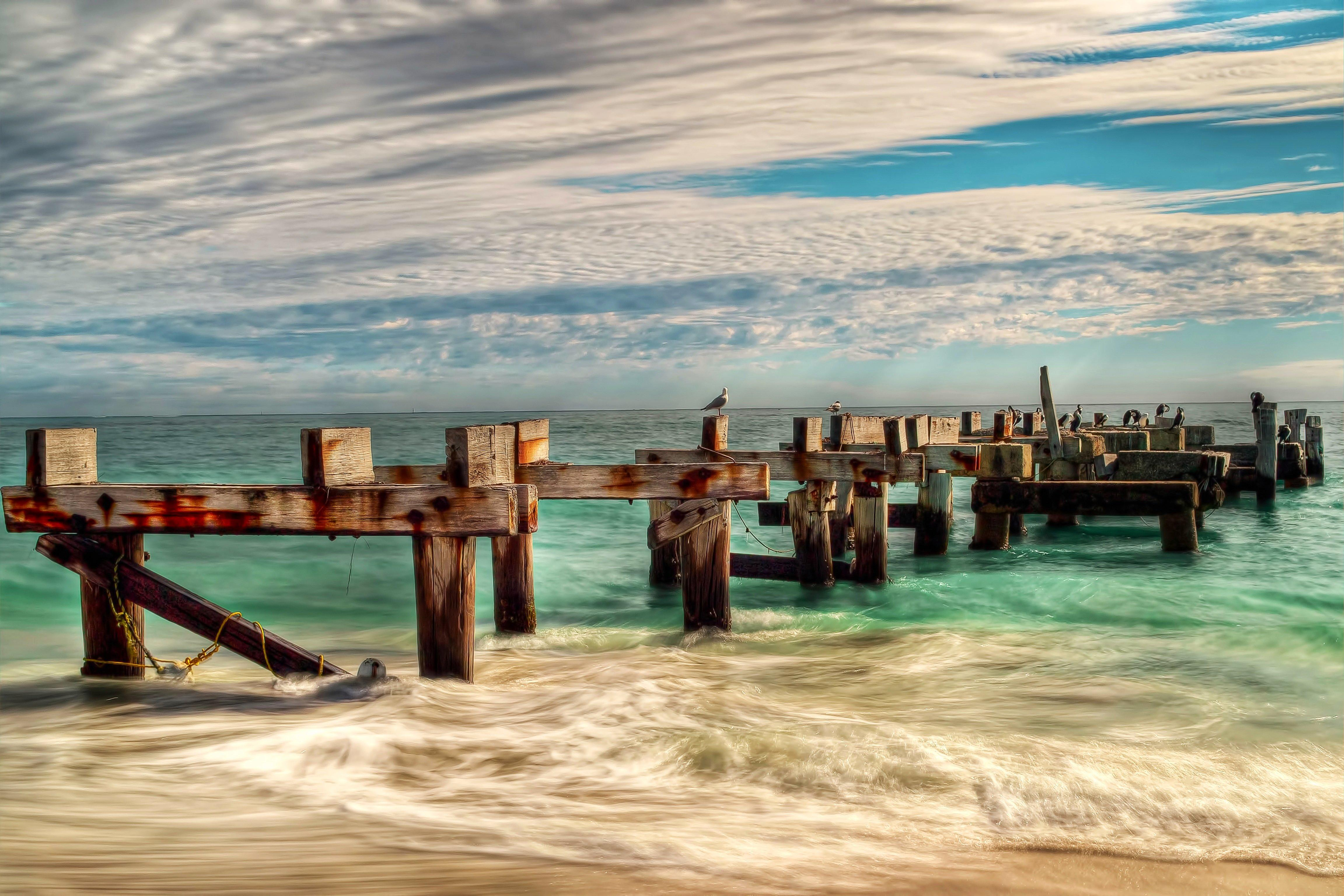море, волны, столбы, опоры, старый пирс, чайки, птицы, небо, пляж, пейзаж