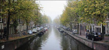 Обои Амстердам, Нидерланды, Голландия, канал, улица, дома, город, панорама