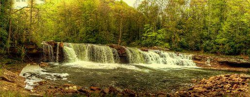 Фото бесплатно река, водопад, осень, лес, деревья, пейзаж, панорама
