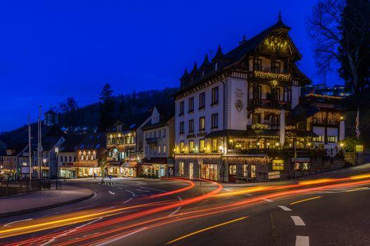 Бесплатные фото Триберг,Германия,ночь,огни,иллюминация