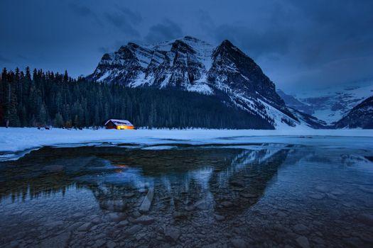 Фото бесплатно Lake Louise, ночь, дом