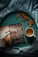 Обои журнал, надпись, лоток, чай, листья, magazine, inscription, tray, tea, leaves