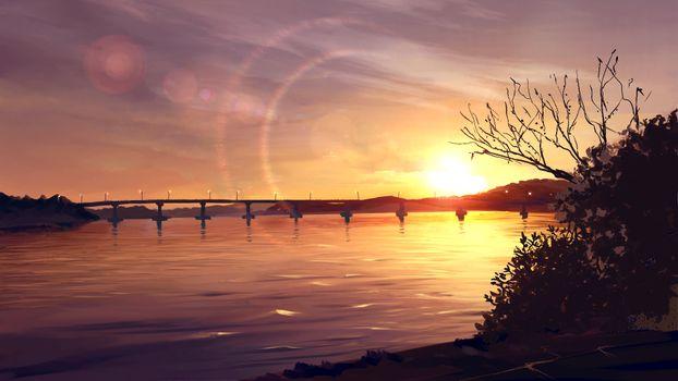 Заставки аниме пейзаж, закат, мост