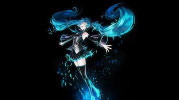 Photo free closed eyes, anime girls, blue hair