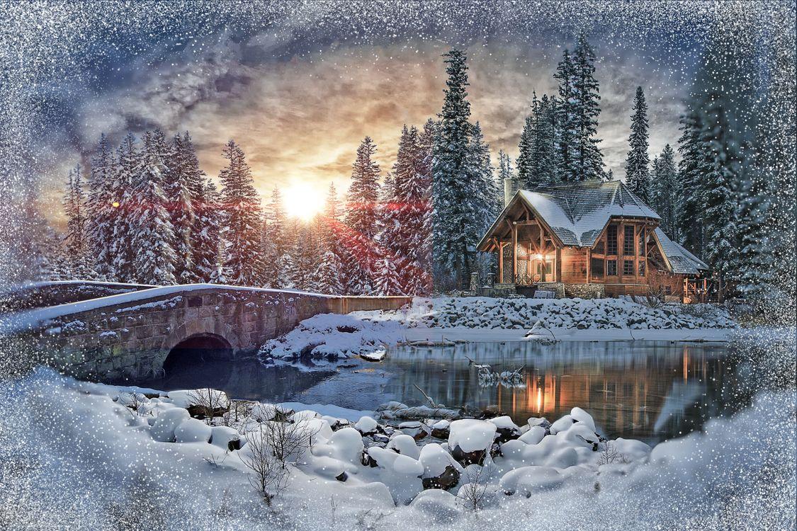 Картинка закат, зима, река, мост, деревья, домик, пейзаж на рабочий стол. Скачать фото обои пейзажи