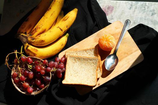 Фото бесплатно еда, мандарин, хлеб