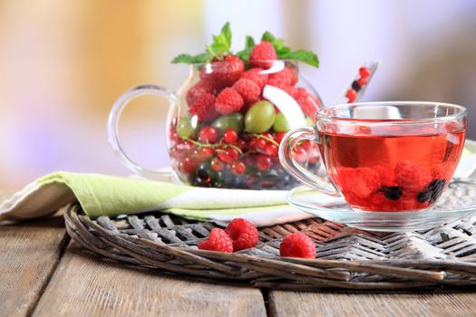 Заставки малина, чай, фрукты
