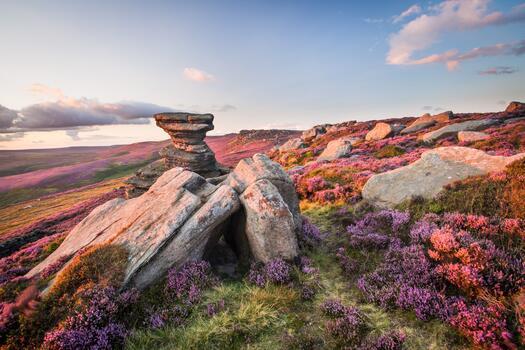 Фото бесплатно скалы, поле, облака