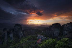 Фото бесплатно небо, солнце, Каламбака, Греция, пейзаж, природа, Метеоры