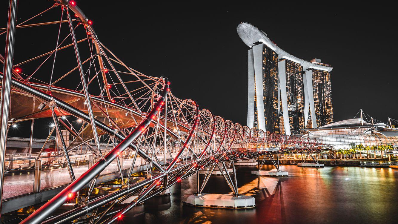 Мост Сингапуре ночью красивые фотографии