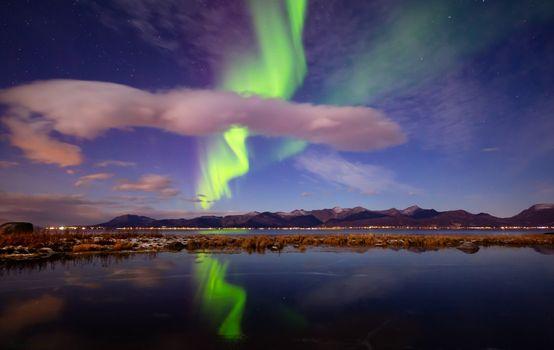 Фото бесплатно Норвегия, северное сияние, полярное сияние
