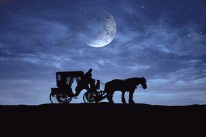 Фото бесплатно ночь, луна, карета