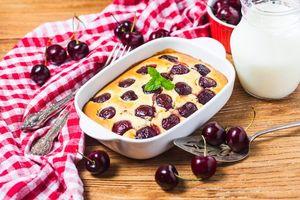 Фото бесплатно запеканка, вишня, десерт