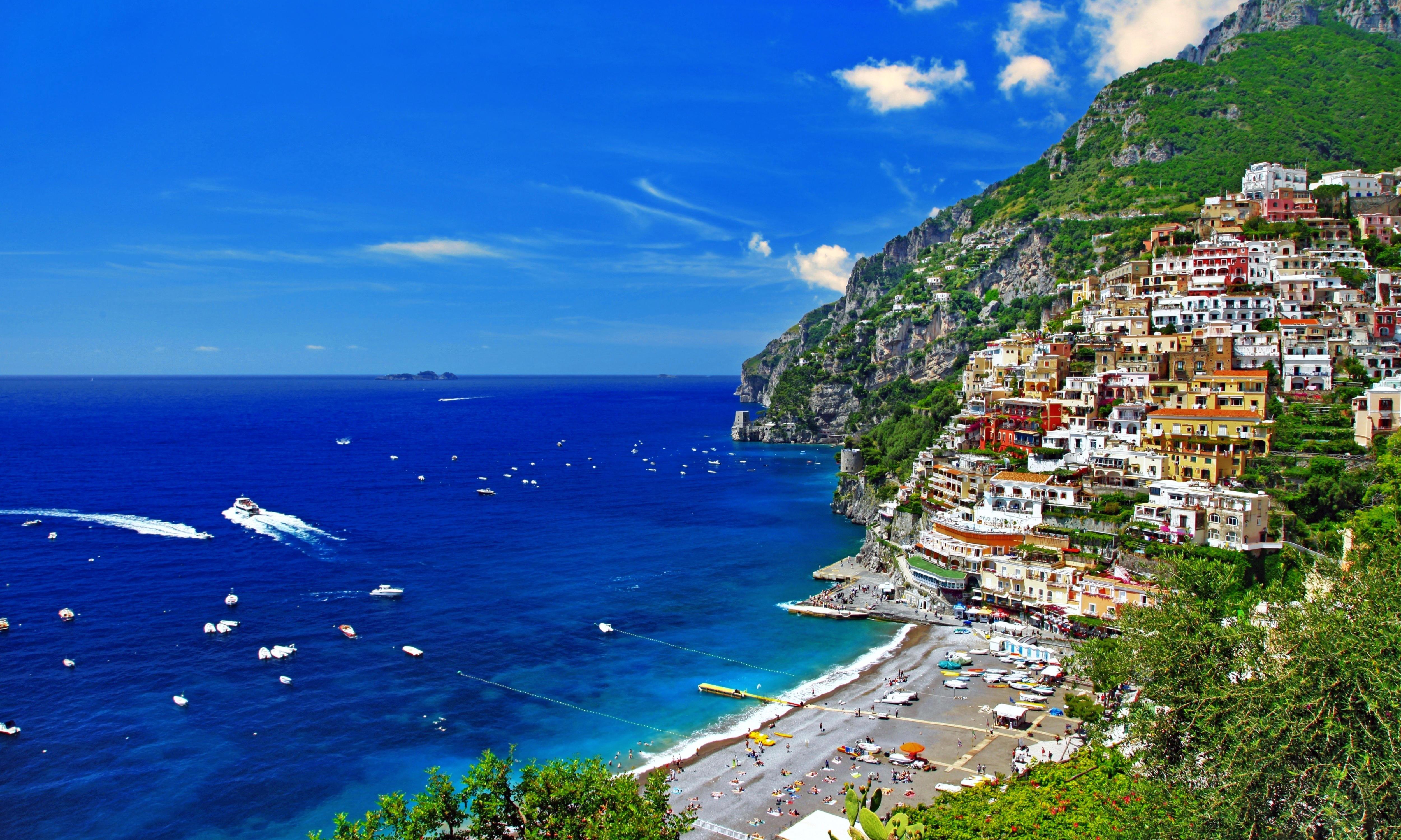 Обои море, город, пляж, яхты