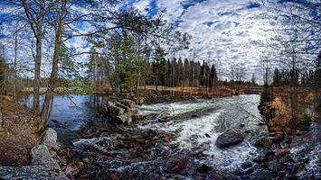 Заставки река,течение,лес,деревья,камни,пейзаж