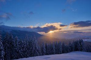 Бесплатные фото зима, закат, горы, снег, деревья, пейзаж