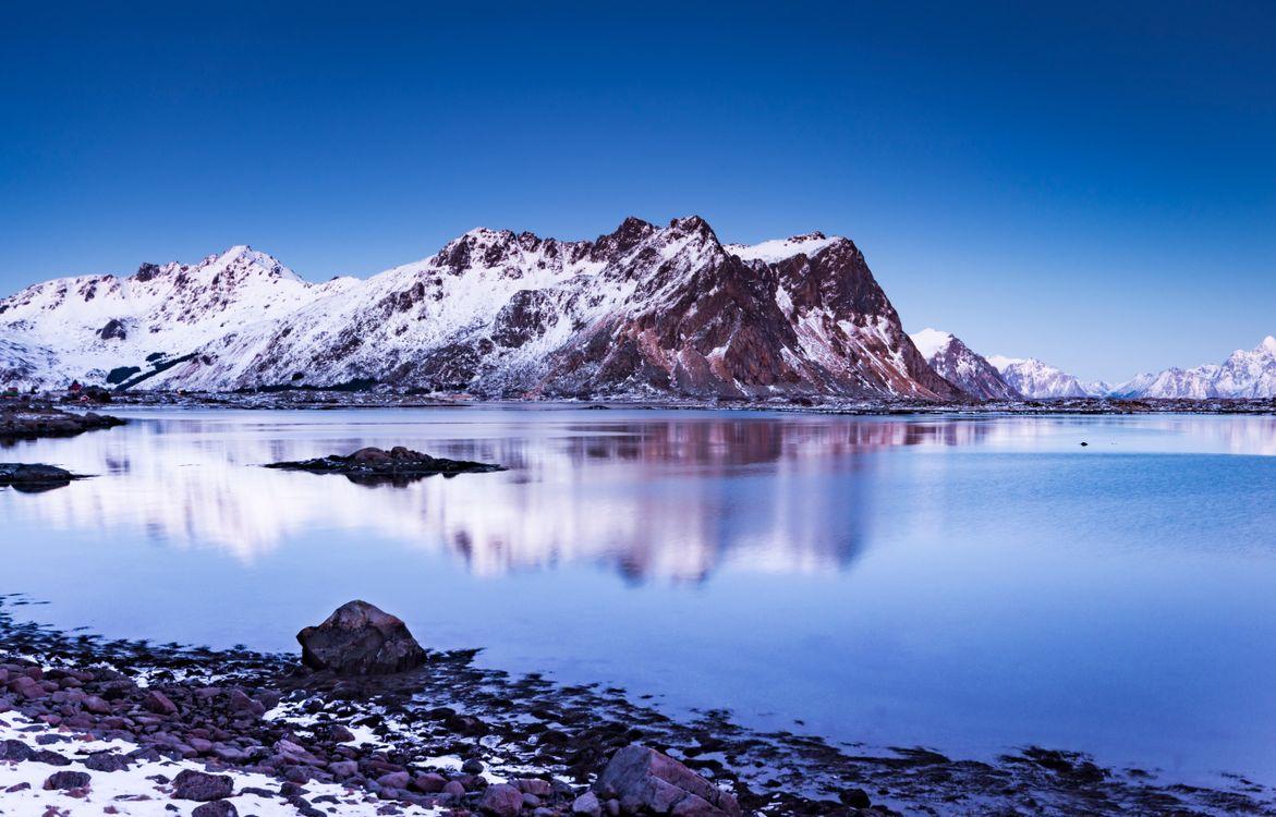 Фото горы Лофотенские острова горный пейзаж - бесплатные картинки на Fonwall