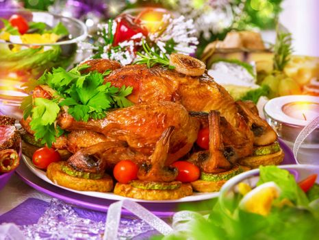 Фото бесплатно курица, обжаренная, гарнир