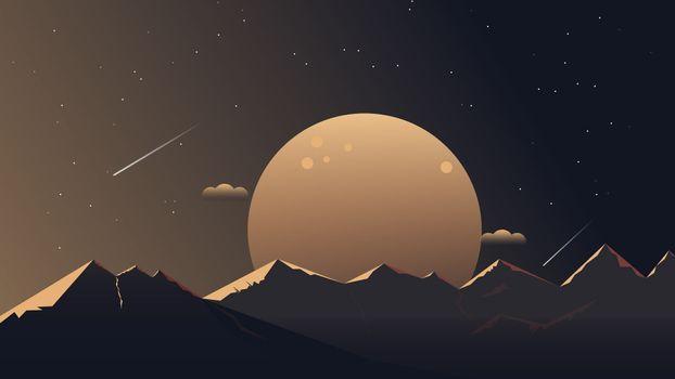 Рисунок ночные горы