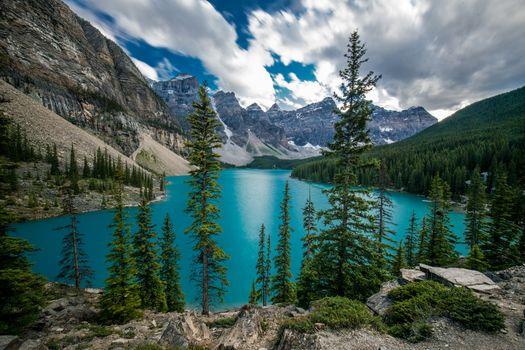 Бесплатная картинка озеро морейн, национальный парк банф, альберта