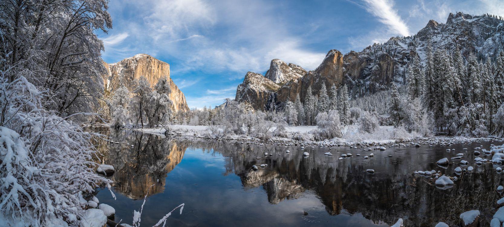 Фото бесплатно зимние парки, Йосемити, зимние пейзажи - на рабочий стол