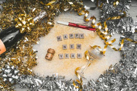 Фото бесплатно новый год, блестки, буквы