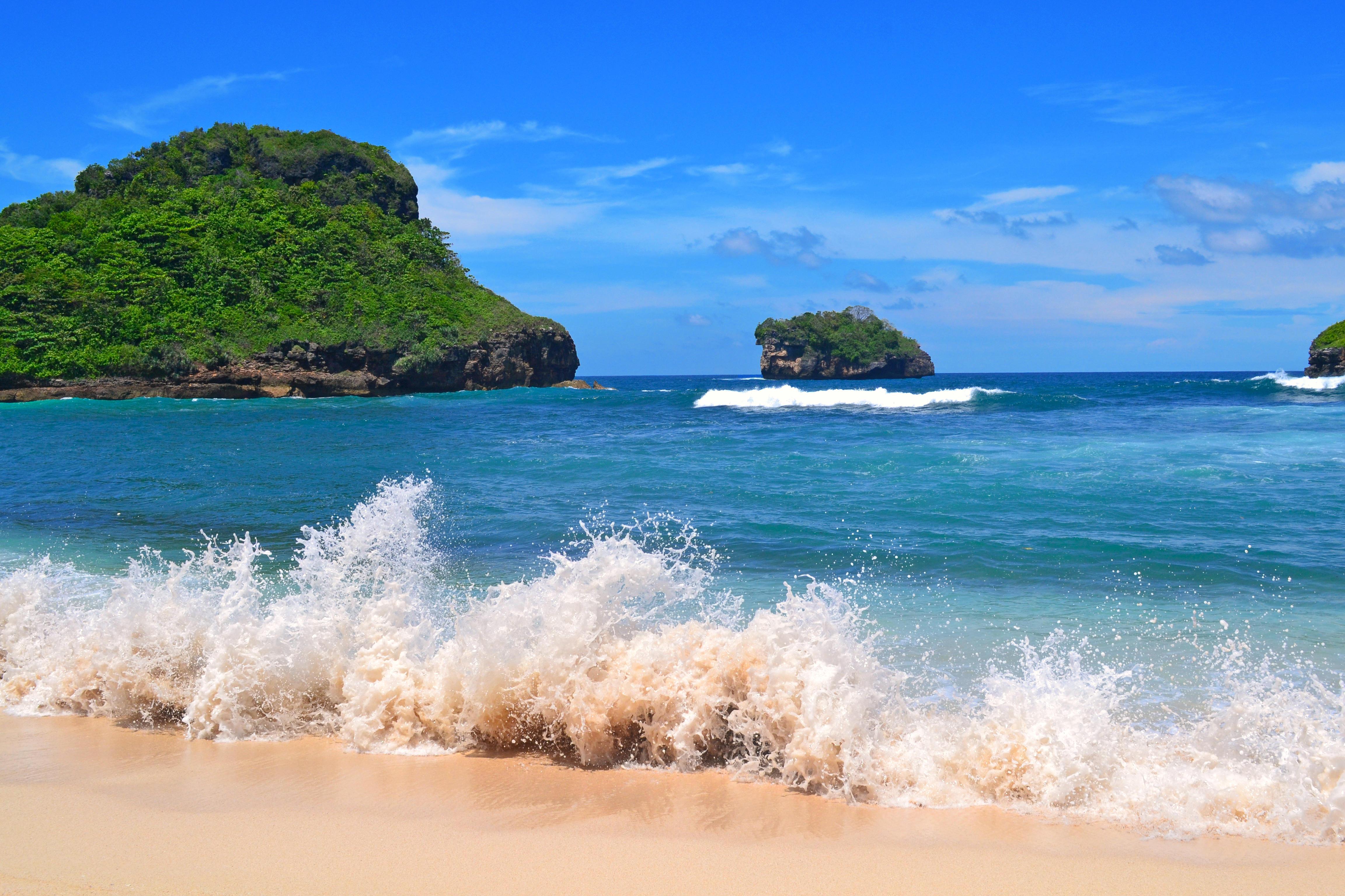 Обои море, острова, пляж, волны