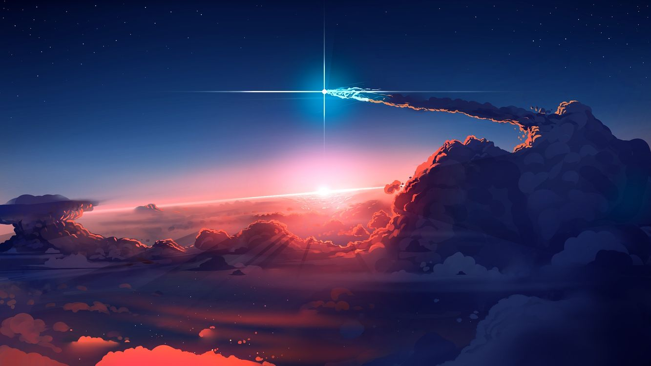 Photos for free fantasy landscape, comet, beyond the clouds - to the desktop