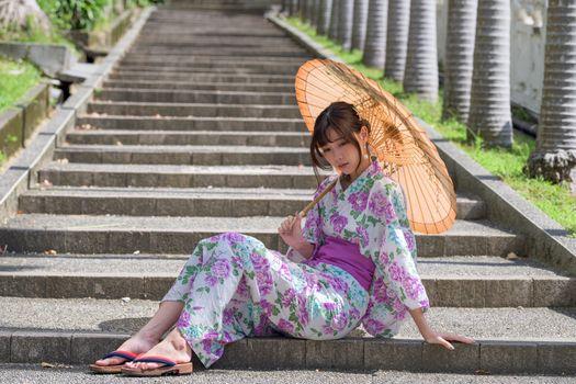 Photo free girls, kimono, stairs