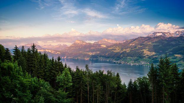 Фото бесплатно озеро, сумерки, рассвет