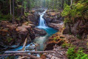 Заставки Национальный парк Маунт Рейнир, штат Вашингтон, лес, деревья, скалы, водопад, речка, пейзаж, Mt Rainier National Park