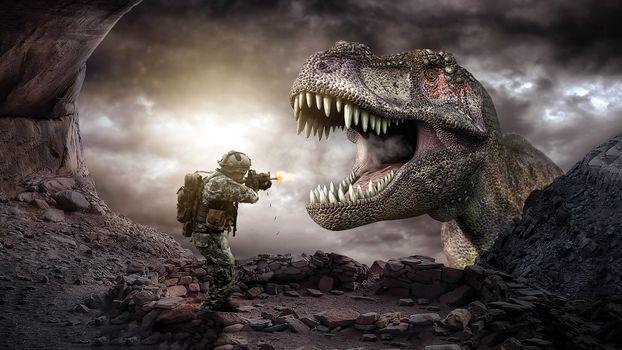 Фото бесплатно динозавр, раптор, воин