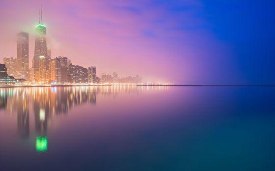 Заставки небоскребы, городской пейзаж, фиолетовый