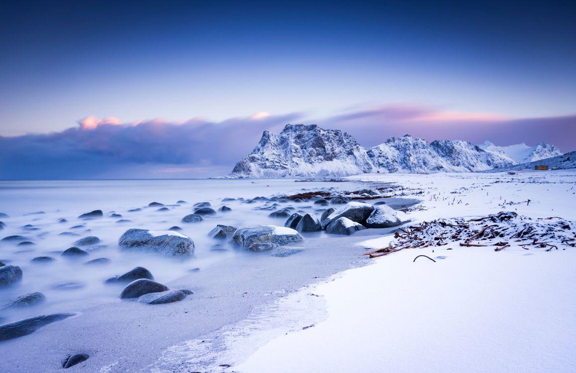 Фото горный пейзаж снежные горы снег - бесплатные картинки на Fonwall