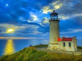 Бесплатные фото Северный главный маяк на мысе Разочарование,Вашингтон,море,небо,закат,пейзаж