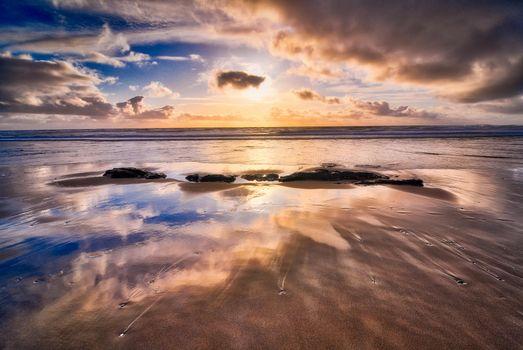 Фото бесплатно Oregon beach, закат, море, берег, пляж, отражение, пейзаж