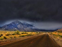 Фото бесплатно Whitney Portal Road, Калифорния, дорога, тучи, горы, пейзаж