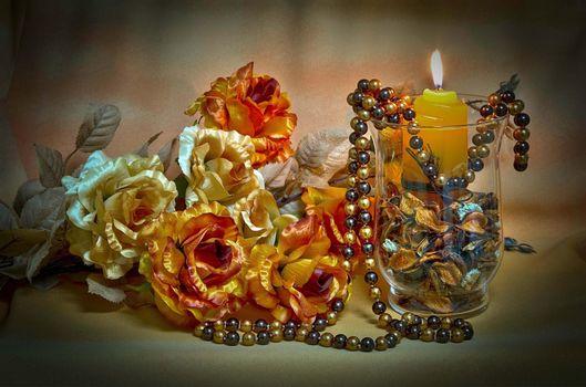 Фото бесплатно бокал, свеча, цветы