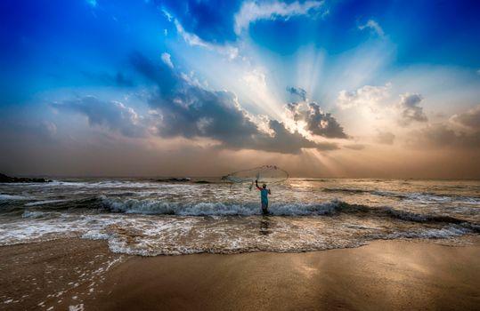 Фото бесплатно Бенгальский залив, Индия, закат