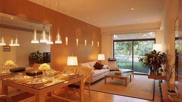 Бесплатные фото гостиная, диван, стол, подсветка