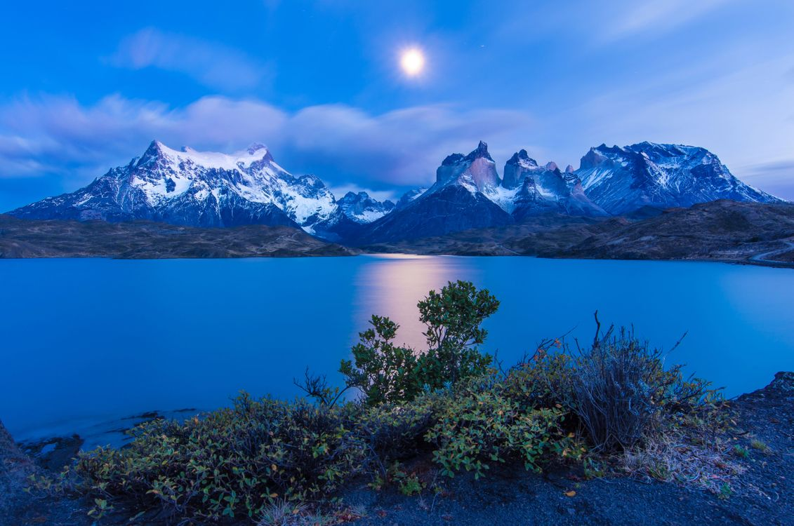 Фото бесплатно озеро, пейзаж, луна - на рабочий стол