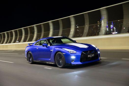 Photo free Nissan Gtr, blue, white stripe