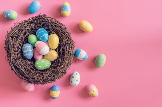 Фото бесплатно пасхальные яйца, розовый фон, праздники