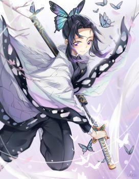 Photo free demon slayer, kochou shinobu, katana