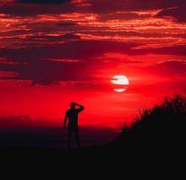 Заставки человек, силуэт, закат, небо, man, silhouette, sunset