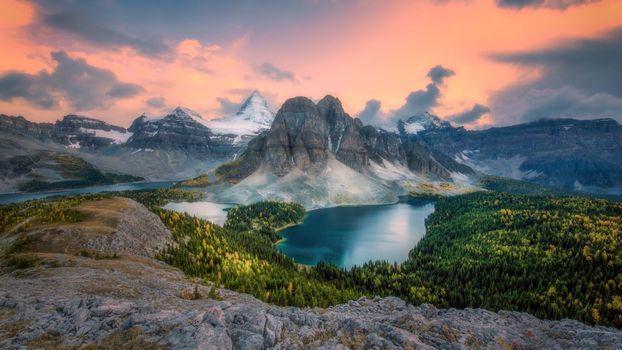 Фото бесплатно Mt Assiniboine, CANADA, закат