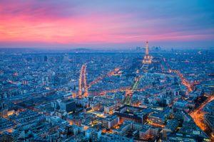 Заставки Франция, закат, Париж