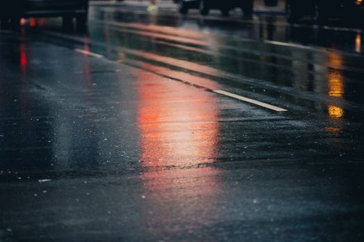 Фото бесплатно улица, мокрый, асфальт, дождь, отражение, дорога, огни, город, линия, степь, глубина резкости, аннотация