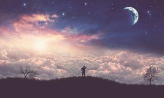 Фото бесплатно поле, небо, море облаков