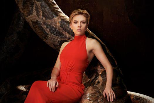 Photo free Scarlett Johansson, actress, red dress